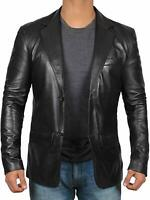 NEW Mens Genuine Lambskin Leather Blazer Soft TWO BUTTON Black Coat Jacket