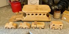 Vintage Wooden Toy Vehicle Ferry Boat Cars & Dock Ramp