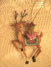 Christmas Tree Ornament of Cute Reindeer with Decorated Gifts
