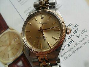14k Gold & S/S 1977 Vintage Men's Rolex Oyster Perpetual Ref. 1005 Swiss Watch