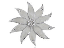 Pearlescent Enamel Painted Crystal Flower Petals New Pin Fashion Women  Brooch