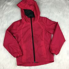 Columbia Girl's XS Rain Jacket Coat Hot Pink Zip Up Hooded Water Resistant Lined