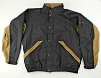 DryJoys by FJ FootJoy Black Brown Full Zip Snaps Rain Jacket Mesh Lining Size L