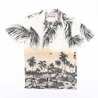 Vintage RJC Beige Tropical Hawaiian Beach Print Casual Shirt Size Mens Small