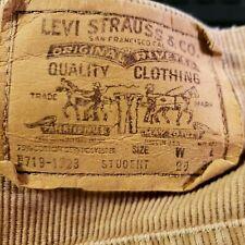 Levi's Pants sz 29X30 Student brown Corduroy 719-1523 White Tab cords