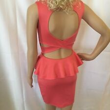 Body Control Sexy Form Fitting Back Revealing Salmon Colored Retro Dress Size S