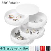 360 Degree Rotating Jewelry Storage Box Organizer Case Earring Necklace Box Gift
