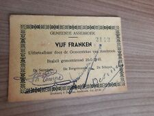 Noodgeld VIJF Franken 1940 Gemeente Assebroek (VIJF drukletters)