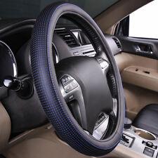Universal Steering Wheel Cover Faux Leather Anti-slip Blue Black Fashion 37-39cm