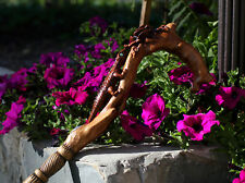 Lizard Flower Wood Hand Crafted Carved Walking Stick Cane for women Ladies D