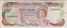 Belize Banknote P49a-6676 20 Dollars 1.1.1987, QE II, F-VF