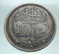 1916 EGYPT Sultan Hussein Kamil Genuine Silver 10 Piastres Egyptian Coin i81642
