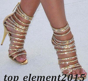 Gold Strappy Rhinestone High Stilettos Women Heels Open Toe Party Prom Shoes