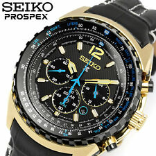 NEW MEN'S 100M SEIKO PROSPEX SOLAR AVIATOR CHRONOGRAPH SAPPHIRE WATCH SSC264P1