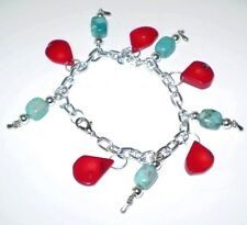 Bracelet Coral/Turquoise Stone Silver Plated Chain Women GB Handmade USA New