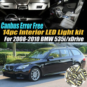 14Pc CANbus Error Free Interior LED White Light Kit for 2008-10 BMW 535i/xDrive
