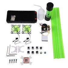 Pc Water Cooling Kit System 240mm Radiator Reservoir Pump Cpu Block 2 Led Fan�
