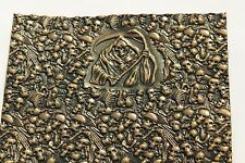 Death Design Embossed Antique Bronze Cow Leather Hide Piece