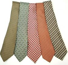 Vintage Lot 5 Hermes Silk Ties Lot Chain Horse Tack Locks Made in France FLAWS