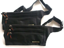 2 x Travel Money Belts Passport Waist Sport Bum Bag compact belt Flat n safe
