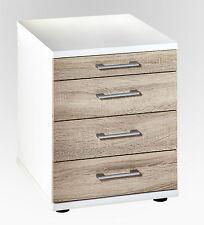 Rollcontainer Bürocontainer Büromöbel Büro Sonoma Eiche Weiß 4 Schubladen