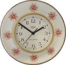 020349.02F Keramik Küchenuhr Artline hellbordo-braune Blumen Braunrand Funkuhr