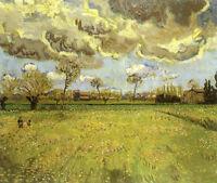 Oil painting Vincent Van Gogh - Landscape under Stormy Skies