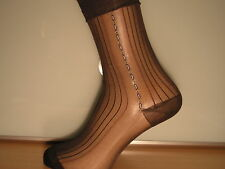 Patterned ribbed sheer nylon socks. BROWN with BLUE and WHITE side pattern