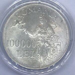 Romania 100000 lei 1946 Mihai I KM#71 Silver XF+