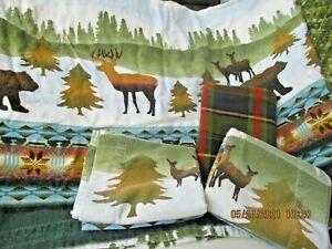 Flannel Flat Sheet & 3 Standard Pillow Cases Full Size Lodge Look Bears Deer