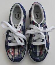 Ralph Lauren Boys Tennis Shoes Plaid Fabric Upper Blue Size 12 New