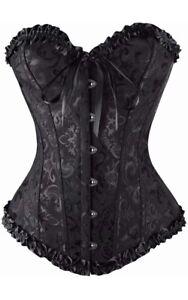 New - Sexy Burlesque Lace Up Basque/Corset -Lingerie Waist Clincher Black Plain