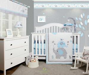 6-Piece Blue Grey Elephant Baby Boy Nursery Crib Bedding Sets By OptimaBaby