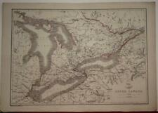 UPPER CANADA LAKE ONTARIO LAKE EIRE 1863 ETTLING/DISPACH ATLAS ANTIQUE MAP