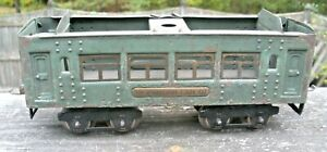 Ives Rare 1928-1930 Cadet Blue O Gauge #133 Parlor Car for Restoration or Parts