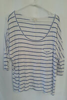 Women's 3/4 Sleeve Top Size S Witchery White + Blue Stripe Stretch Batwing Style
