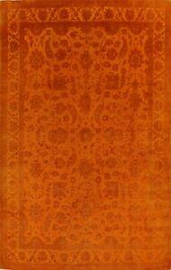 Floral Carved Orange Peshawar-Chobi Area Rug Vegetable Dye Hand-knotted 9x12 New