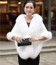 Women Lady Faux Fur Cape Shawl Thick Winter Warm Cloak Outwear Stylish
