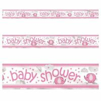 3.65M Pink Baby Shower Holographic Foil Banner Party Decorations Party Supply