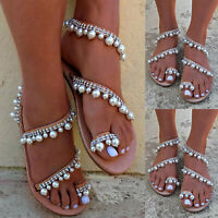 Womens Boho Pearl Sandals Summer Holiday Beach Rhinestone Flat Casual Shoes Size
