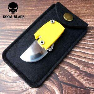 Mini Straightback Folding Knife Pocket Hunting Wild Survival Tactical G10 Handle