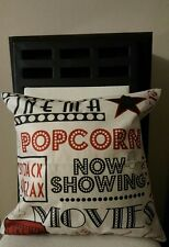"Cinema Movies Now Showing Popcorn Linen Throw Pillow Case Cover 18"" US Seller"