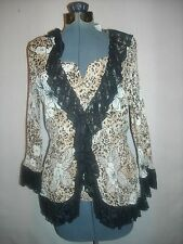 Agora brown/black/beige animal print pleat 2-pc blouse set Large NEW WITH TAGS