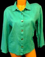 Orvis green 3/4 sleeve folded collar women's plus size button down top L, 14/16