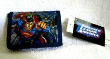 Justice League Superman,Batman,Flash,Gre en Lantern Blue/Black Trifold Wallet-New
