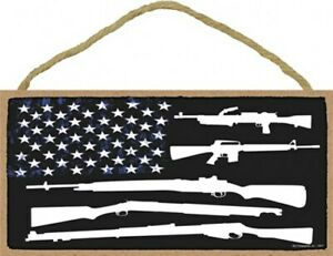 """American Flag Made Of Guns and Stars Miltary Nice 10""""X5"""" Wood Wall Sign NEW A93"""