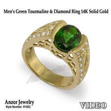 Men's Green Tourmaline & Diamond Ring 14K Solid Yellow Gold Ring Siz 7 to 13.5 .