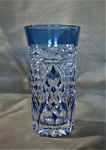 Edo Kiriko Kagami Crystal Rock Slim Glass Blue by Craftsman Akio Kimura