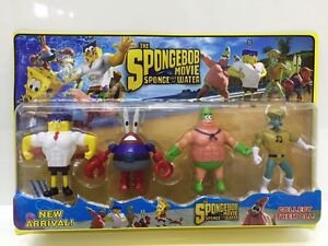Spongebob Squarepants The Movie  4 Action Hero Figurines Set!