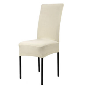 Pure Color Spandex Stretch Dining Room Kitchen Chair Covers Slipcover Cream